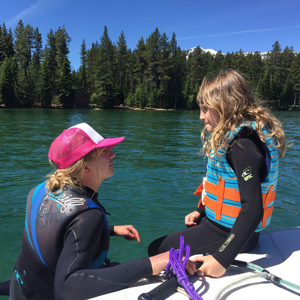 waterski lesson on lake tahoe